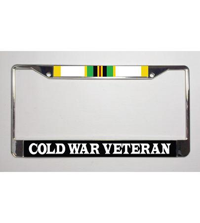 Cold War Veteran Ribbon Metal License Plate Frame