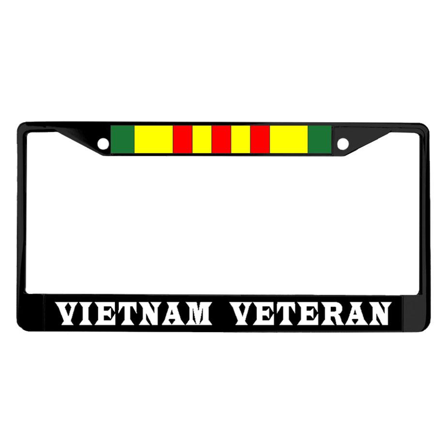 Vietnam Veteran Amp Ribbon Powder Coated Metal License Plate