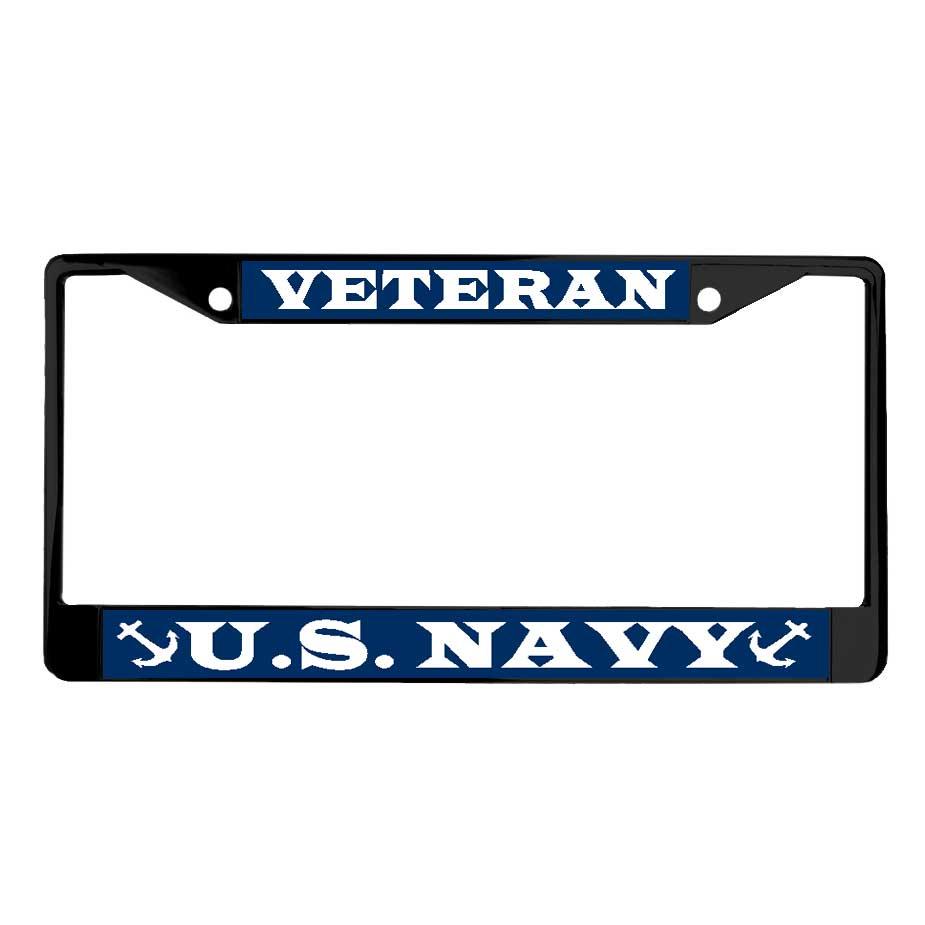 Navy Veteran - Powder Coated Metal License Plate Frame
