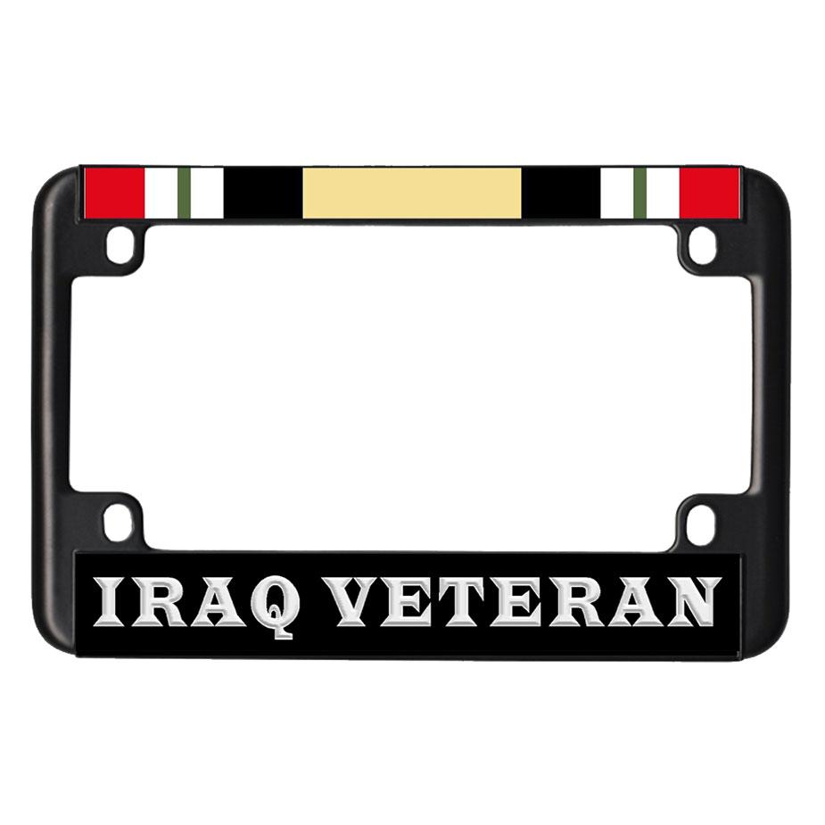 us military online store iraq veteran ribbon black metal motorcycle license plate frame - Motorcycle License Plate Frames