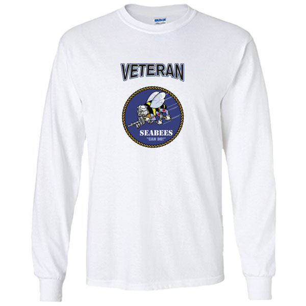 f4a7cd061c14 Officially Licensed U.S. Navy Seabees Veteran White Long Sleeve Shirt