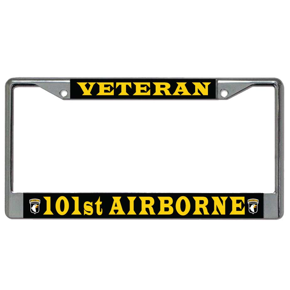 us military online store 101st airborne veteran metal license plate frame - Metal License Plate Frames