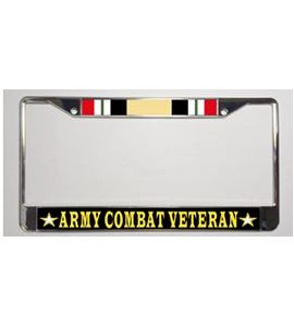 iraq campaign ribbon army combat veteran metal license plate frame