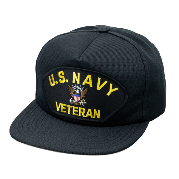 US Navy Veteran Embroidered Washed Cap - Black OSFM