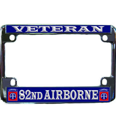 82nd Airborne Division Veteran Metal Motorcycle License