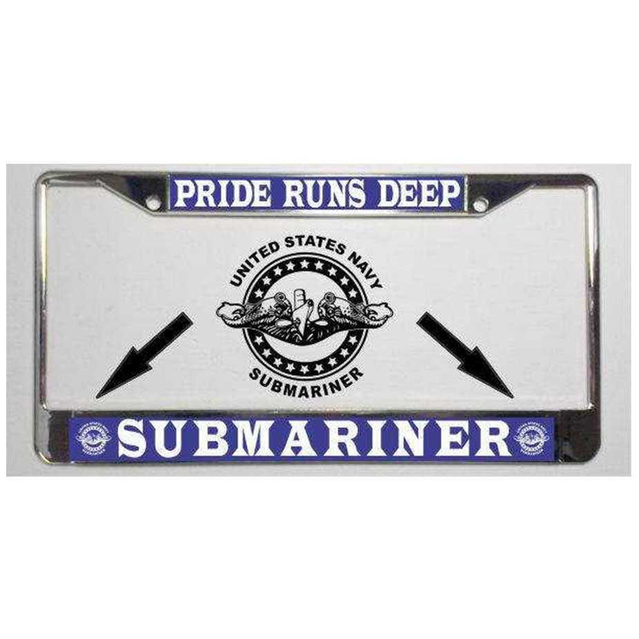 Navy Submarine Badge Pride Runs Deep License Plate Frame