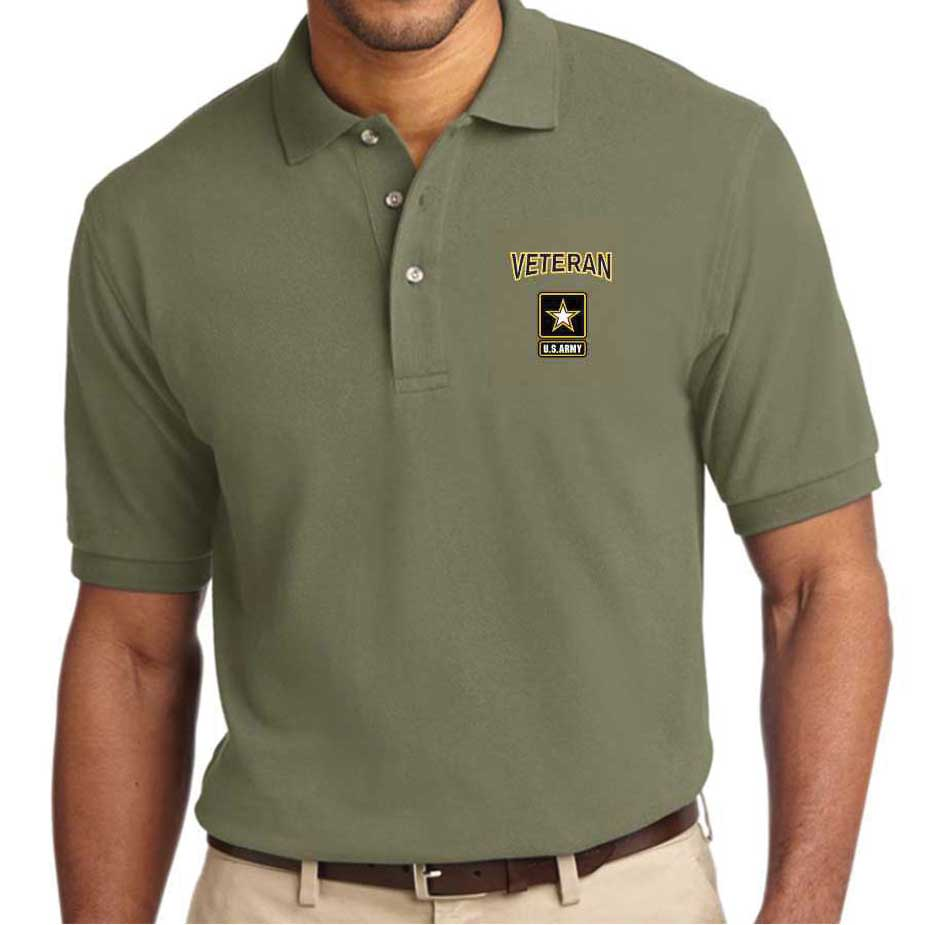US Army Veteran Embroidered Polo Shirt with Star Logo - Officially Licensed