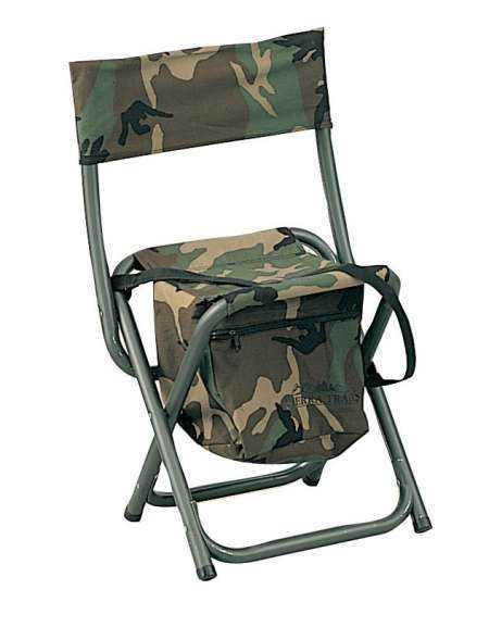 U S Military line Store Deluxe Woodland Camo Folding Chair w Pouch