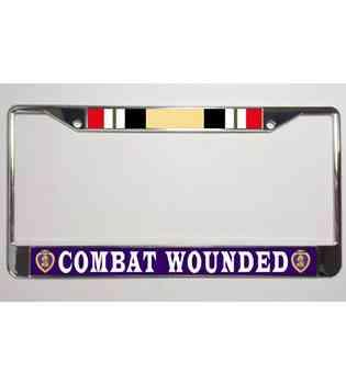 VETERAN Military Metal Motorcycle License Plate Frame Tag PURPLE HEART U.S