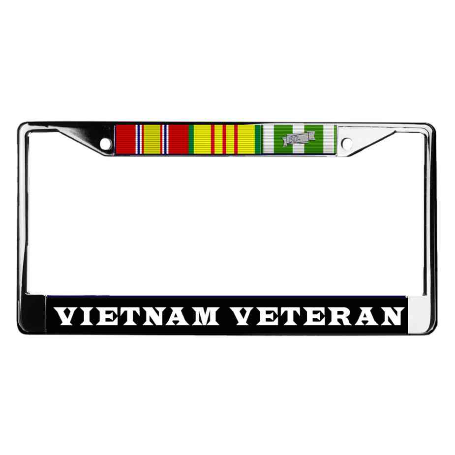 Vietnam Veteran Chrome License Plate Frame with 3 Service Medals