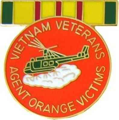 Vietnam Veterans Agent Orange Victims Lapel Pin with Service Medal