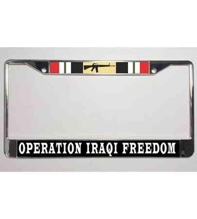 U.S MILITARY OPERATION IRAQI FREEDOM VETERAN METAL LICENSE PLATE FRAME USA MADE