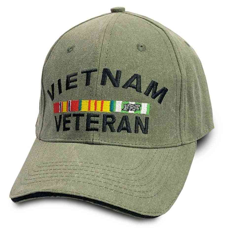 Vietnam Veteran Olive Drab Baseball Cap with 3 Medals/Service Ribbons VetFriends